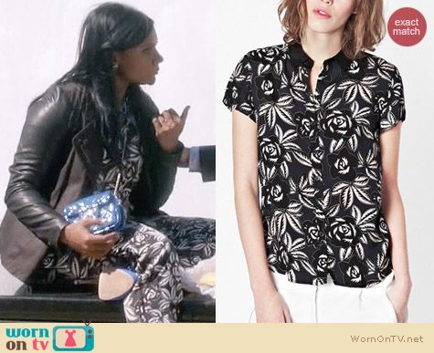 French Connection Argan Rose Relaxed Shirt worn by Mindy Kaling on The Mindy Project