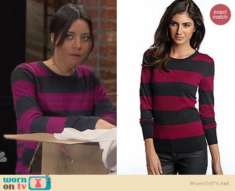 French Connection Bambi Stripe Sweater worn by Aubrey Plaza on Parks & Rec