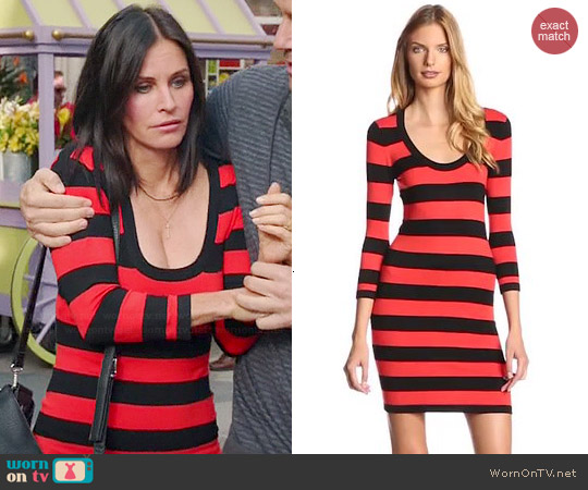 French Connection Classic Stripe Scoop Sweater Dress worn by Courtney Cox on Cougar Town