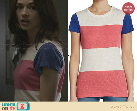 French Connection Colorblock Stripe Tee worn by Crystal Reed on Teen Wolf