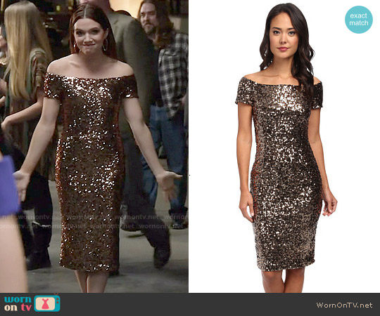 French Connection Cosmic Sparkle Dress worn by Katie Stevens on Faking It