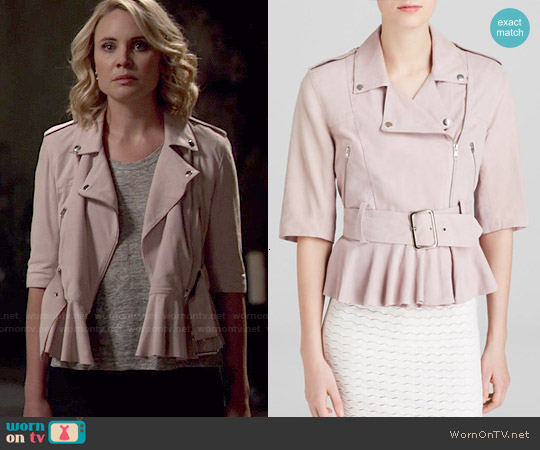 French Connection Desert Suede Moto Jacket worn by Leah Pipes on The Originals