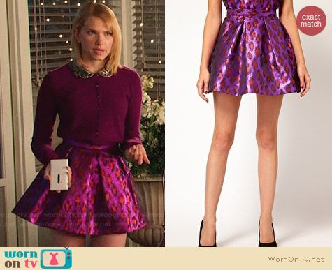 French Connection Disco Leopard Skirt worn by Claudia Lee on Hart of Dixie