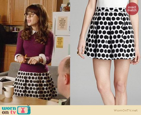 French Connection Fast Sylvie Spot Skirt worn by Zooey Deschanel on New Girl