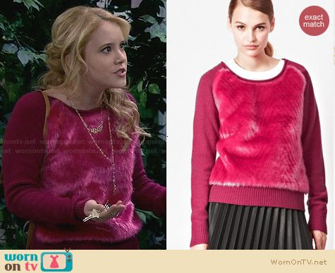 French Connection Faux Fur Knitted Jumper worn by Taylor Sprietler on Melissa & Joey