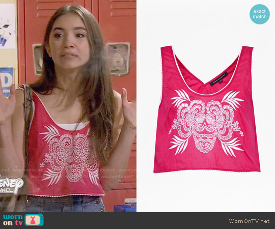 French Connection Harlan Printed Crop Top in Passion Pink worn by Rowan Blanchard on Girl Meets World
