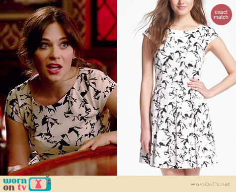 French Connection Hatched Horses Dress worn by Zooey Deschanel on New Girl