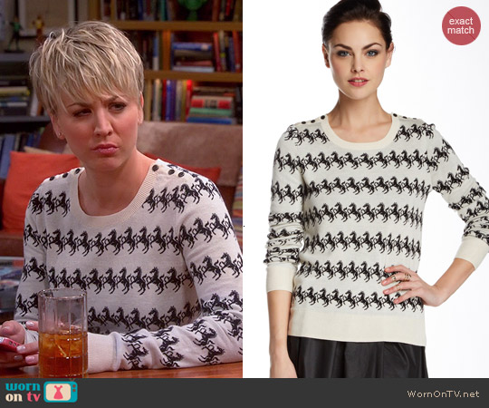French Connection Horse Knit Sweater worn by Kaley Cuoco on The Big Bang Theory