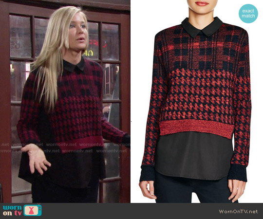 French Connection Layered Effect Printed Sweater worn by Sharon Case on The Young & the Restless