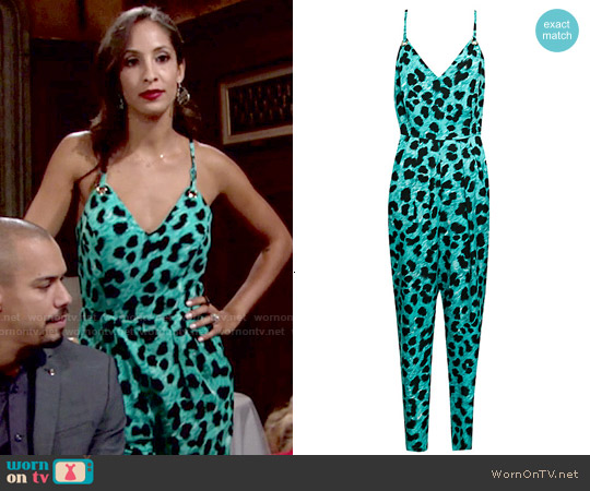 French Connection Leo Leopard Jumpsuit in Caloosa worn by Christel Khalil on The Young & the Restless