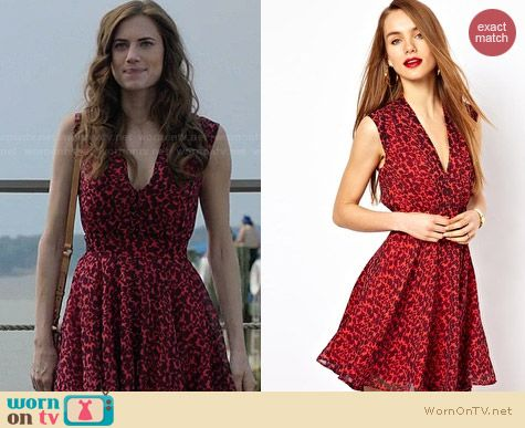 French Connection Leopard Skater Dress worn by Allison Williams on Girls