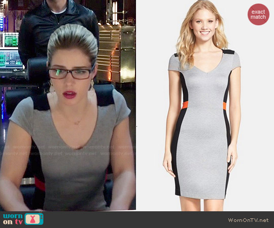 French Connection 'Manhattan' Colorblock Sheath Dress worn by Emily Bett Rickards on Arrow