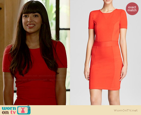 French Connection Manhattan Textured Dress worn by Hannah Simone on New Girl
