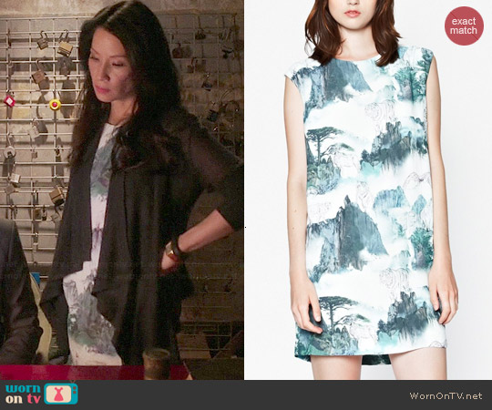 French Connection Misty Mountain Shift Dress worn by Lucy Liu on Elementary