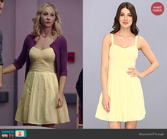 French Connection Monaco Breeze Dress in Beach Club Yellow worn by Candice Accola on The Vampire Diaries