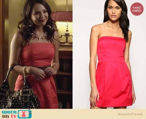 French Connection Red Strapless Tulip Dress worn by Janel Parrish on PLL
