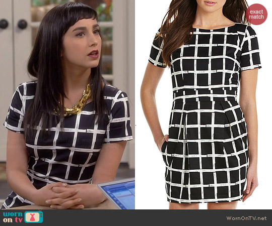French Connection Richie Paint Check Dress worn by Molly Ephraim on Last Man Standing