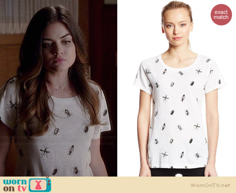 French Connection Sonny Slub Tee in Bugs worn by Lucy Hale on PLL