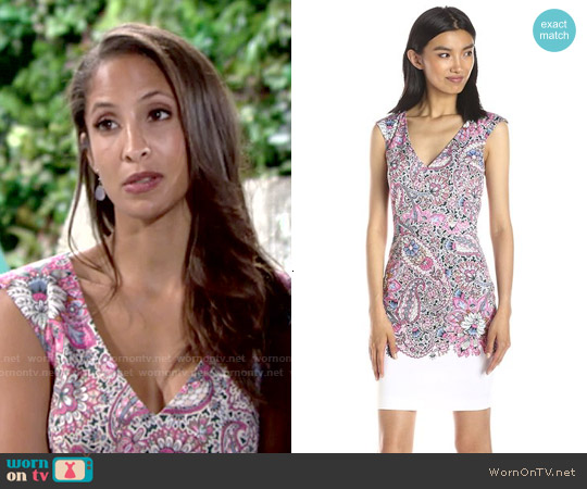 French Connection Sundown Border Printed Dress worn by Christel Khalil on The Young & the Restless