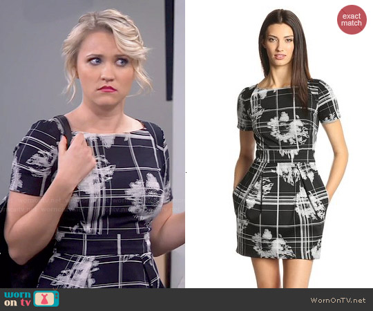 French Connection Wilderness Check Dress worn by Emily Osment on Young & Hungry