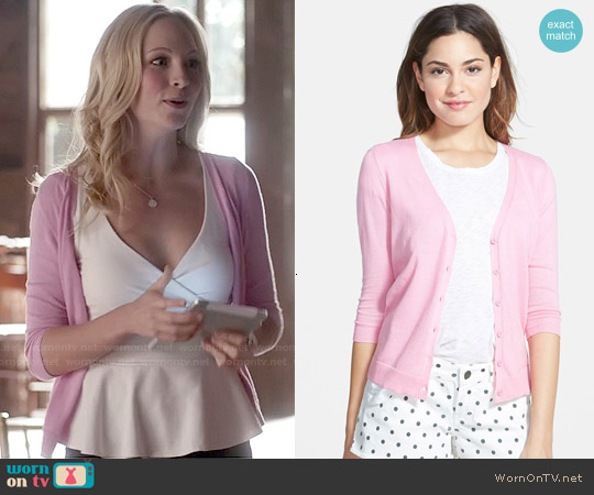 Frenchi V-Neck Three-Quarter Sleeve Cardigan in Pink Prism worn by Candice Accola on The Vampire Diaries