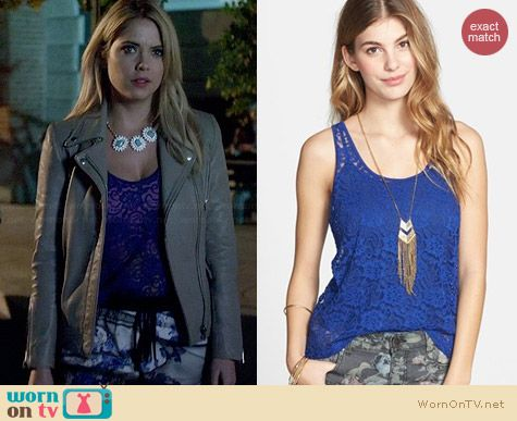 Frenchi Sheer Lace Tank worn by Ashley Benson on PLL