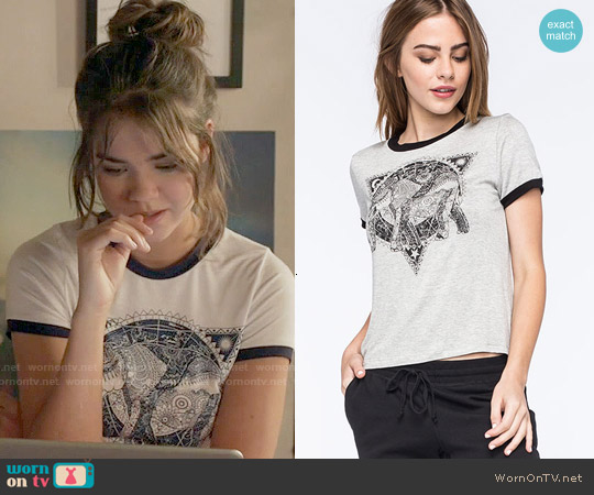 Full Tilt Elephant Ringer Tee worn by Maia Mitchell on The Fosters