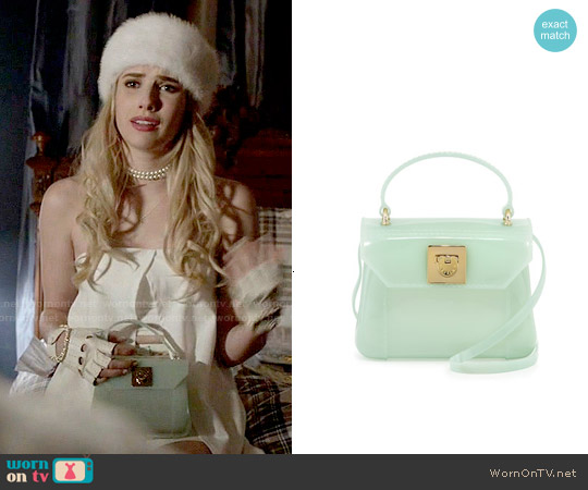 Furla Candy Bon Bon Mini Crossbody Bag in Aqua worn by Chanel Oberlin on Scream Queens