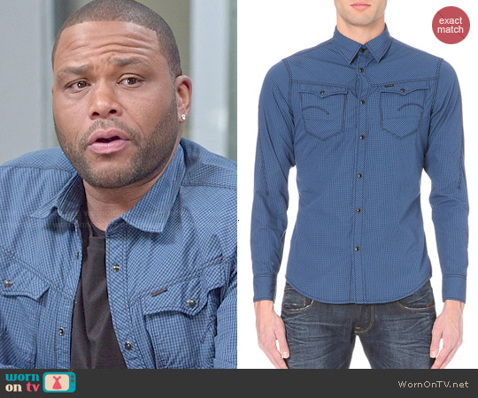 G Star Arc Checked Cotton Shirt worn by Anthony Anderson on Blackish
