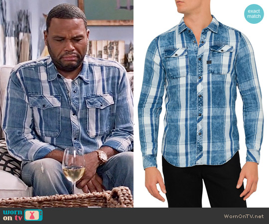 G Star Raw Landoh Shirt in Indigo Check worn by Anthony Anderson on Blackish