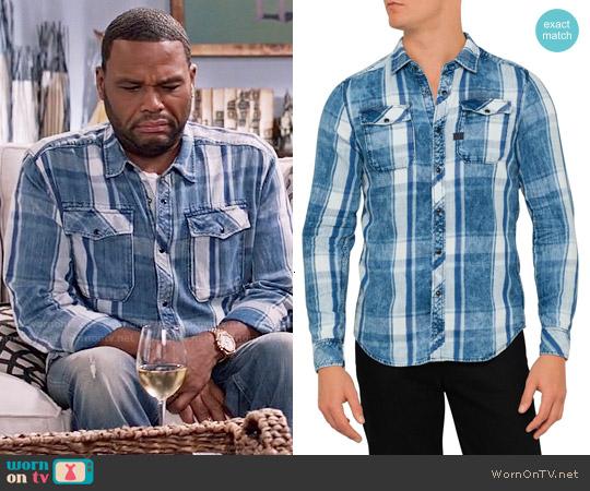 G Star Raw Landoh Shirt in Indigo Check worn by Anthony Anderson on Blackish