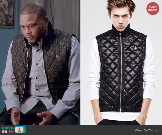 G Star Raw Meefic Quilted Vest worn by Anthony Anderson on Blackish