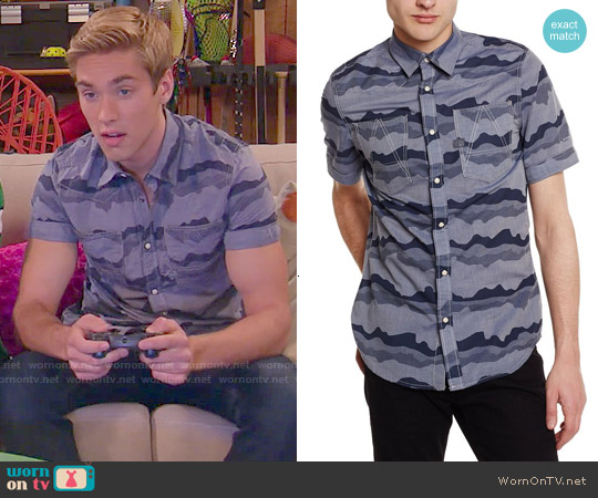 G Star Raw A Crotch Yoshem Shirt in Camo Stripe worn by Austin North on IDDI