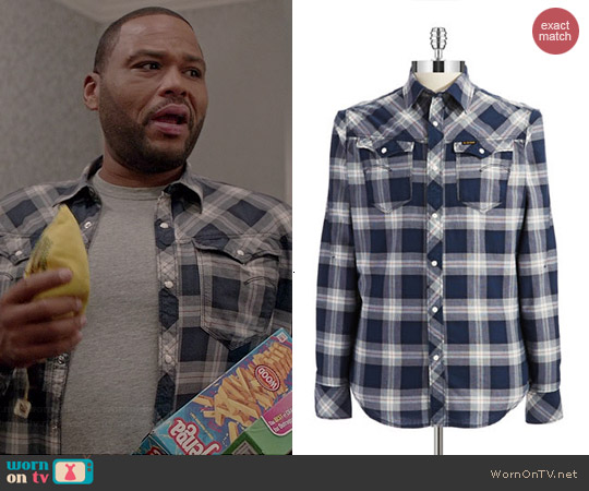 G Star Raw Plaid Sport Shirt in Navy worn by Anthony Anderson on Black-ish