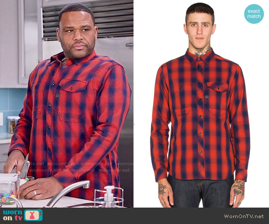 G Star Raw Wolker Shirt in Red Check worn by Anthony Anderson on Blackish