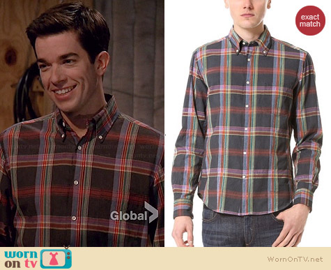 Gant Rugger Madras Sport Shirt worn by John Mulaney on Mulaney