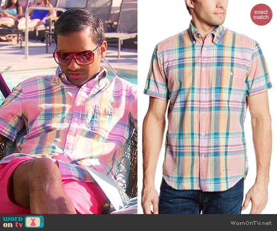 GANT Rugger India Slub Madras Shirt worn by Aziz Ansari on Parks & Rec