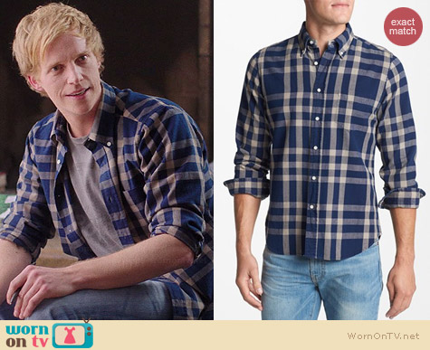 Gant Rugger Indigo Check Oxford Shirt worn by Chris Geere on You're the Worst