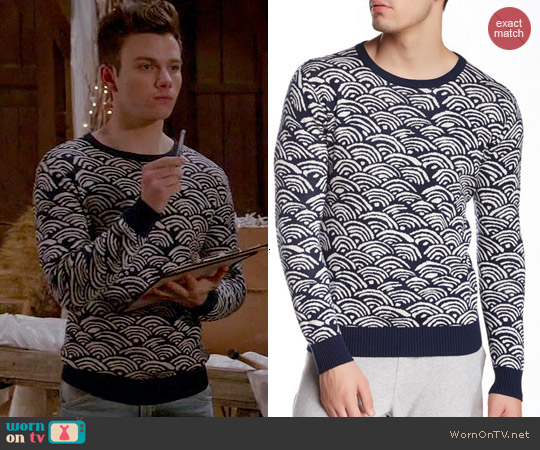 Gant Rugger Wave Jacquard Sweater worn by Chris Colfer on Glee