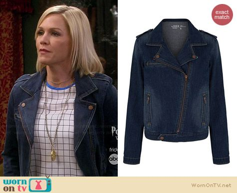 Gap 1969 Denim Moto Jacket worn by Jennie Garth on Mystery Girls