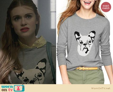 Gap Grey Frenchie Intarsia Sweater worn by Holland Roden on Teen Wolf