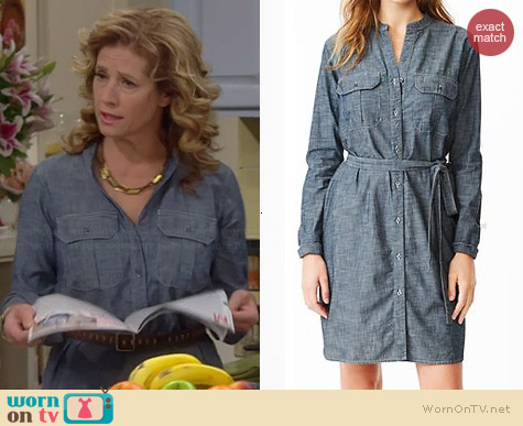 Gap Chambray Utility Shirtdress worn by Nancy Travis on Last Man Standing