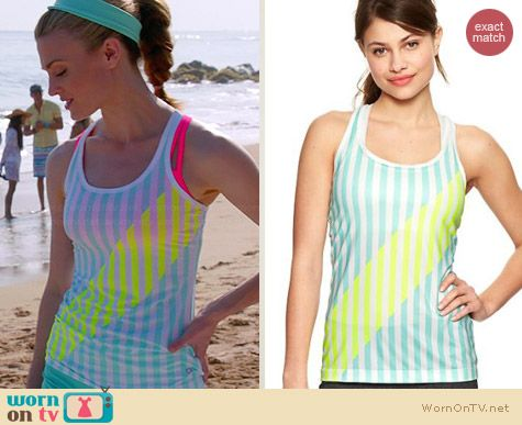 Gap Fit Stripe Tank in Bleached Aqua worn by Brooke D'Orsay on Royal Pains