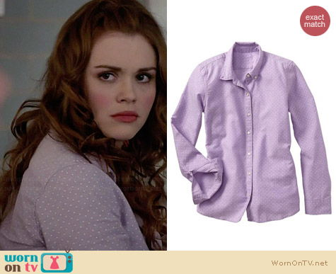 Gap Fitted Boyfriend Dot Oxford Shirt in Lilac worn by Holland Roden on Teen Wolf