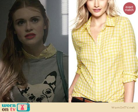 Gap Fitted Boyfriend Shirt in Yellow Gingham worn by Holland Roden on Teen Wolf