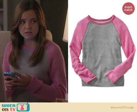 GAP Pink Baseball Sweater worn by Bailee Madison on Trophy Wife