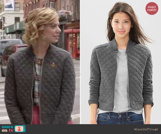 Gap Quilted Knit Bomber Jacket worn by Analeigh Tipton on Manhattan Love Story