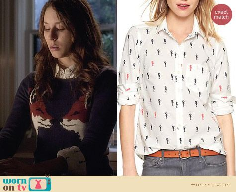GAP Shrunken Boyfriend Shirt in Seahorse Print worn by Troian Bellisario on PLL