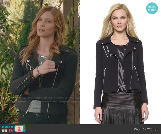 Generation Love Dylan Lace Up Jacket worn by Elizabeth Blackmore on The Vampire Diaries