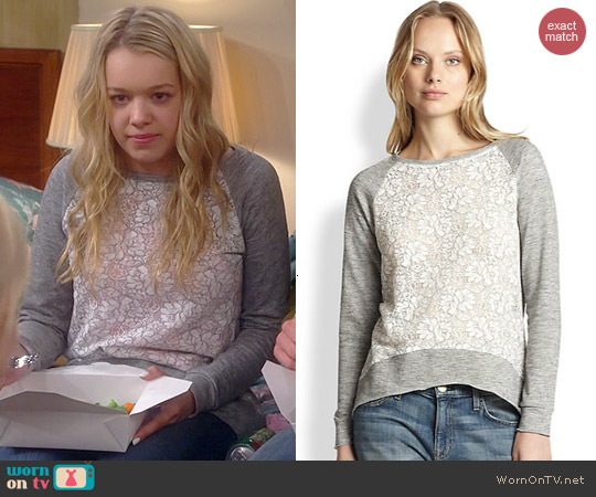 Generation Love Lace-Panel Sweatshirt worn by Sadie Calvano on Mom